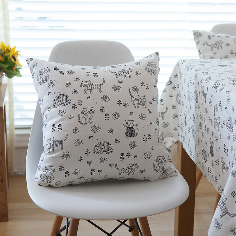 Linen Table Cloth Printed Japan Style Korean Cat Tablecloth Nappe ...