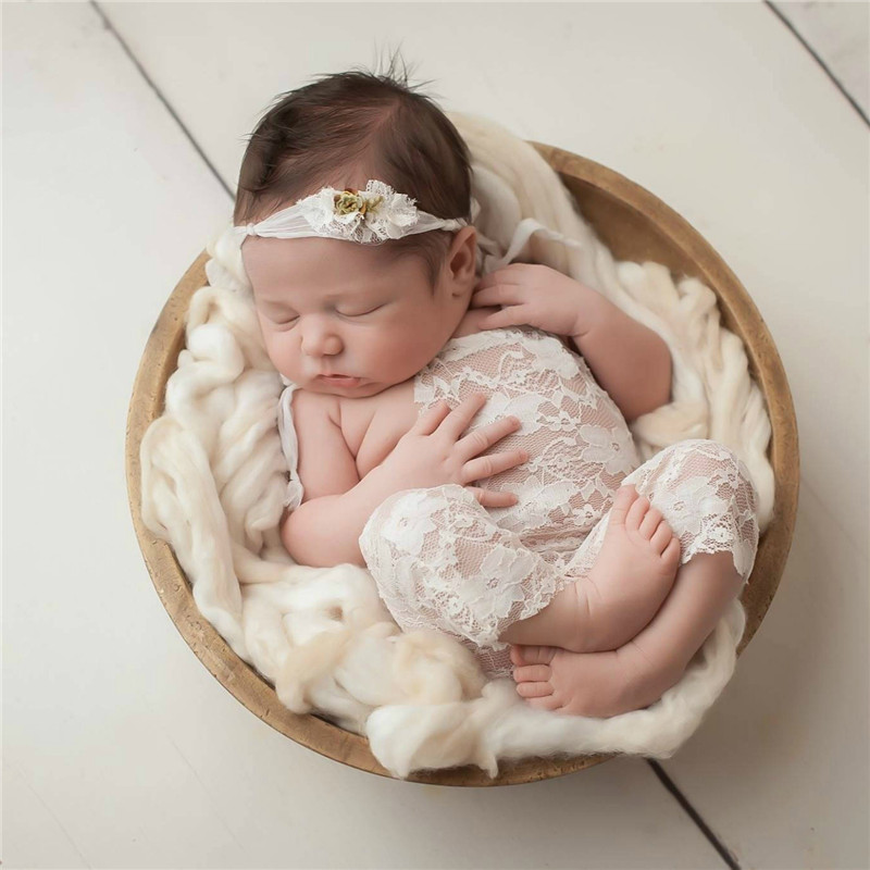 88d438ec1b5 Newborn Photography Accessories Baby Girls Lace Romper Shoulder Bowknot  Overalls Baby Photography Props Infant Photoshoot Props