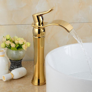 Tuqiu Basin Faucets Gold Bathroom Waterfall Faucet Single handle Black Basin Mixer Tap Bath Faucet Brass Sink Water Crane Tap