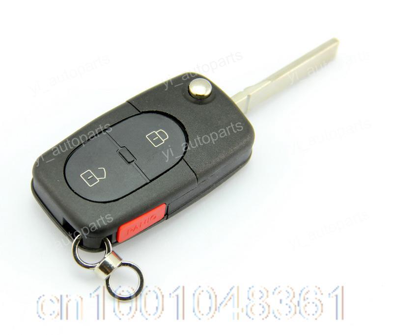 3 Buttons Remote Flip Folding Key Shell Case Keyless Fob For Audi 2+1BT Panic CR1616 Battery A4 ...
