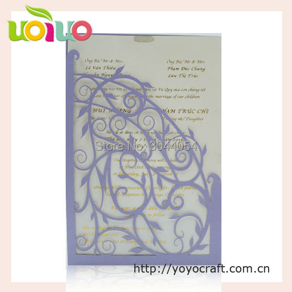 Simple pocket wedding invitation card material unique laser cut