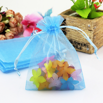 500pcs Sky Blue Organza Bag 15x20cm Jewelry Gift Cosmetic Packaging Bags Organza Pouch Wedding Party Favor Drawstring Gift Bags