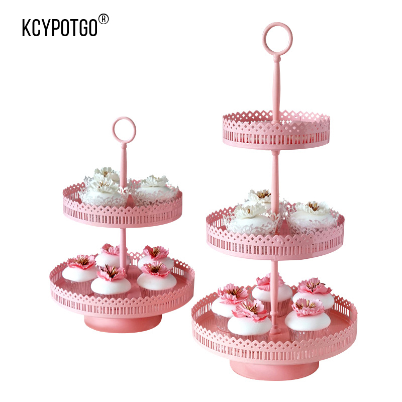 KCYPOTGO Pink metal Cake Stand 2,3 Tier Round Wedding Parties Cupcake Pies Rack Holder, Birthday Parties Wedding Decoration tray