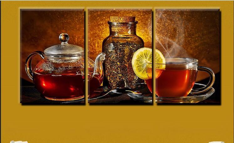 Modulární obrázky 3 kusy moderní malba na plátně čajový šálek leamon ovoce nástěnné obrazy Home Decor Malování na plátně pro Kitche