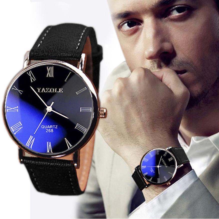 The Latest Men's Fashion Yazhuorun Blu-ray Watch Luxury Leather Glass Quartz Analog Watch Top Business Men's Sports Watch #F