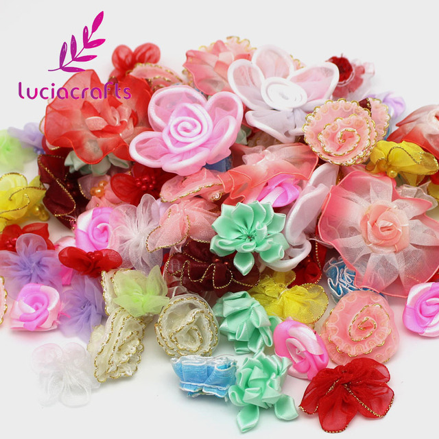 Lucia crafts 2-8.5cm Mixed Colors Silk Flower Girls Boutique Mini Hair Bow  Headwear 89f2877093aa