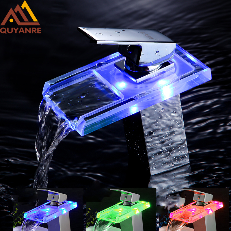 все цены на Free Shipping Chrome Luxury Glass LED Waterfall Basin Faucet Crystal Type Handle LED Color Changing Bathroom Battery Mixer Tap онлайн