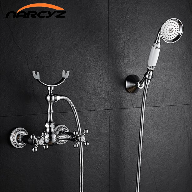 Shower Faucets Home Improvement Bathtub Faucet Brass Chrome Silver Wall Mounted Rain Shower Faucet Round Handheld 2 Handle Luxury Bathroom Mixer Tap Set Xt364