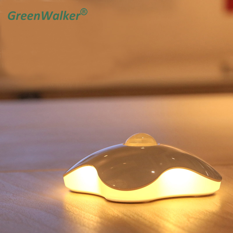 GreenWalker Four Leaf Clover lamps Night light Motion Sensor Novelty Light PIR Intelligent LED Human Body Motion Induction Lamp four leaf clover pir motion sensor led night light smart human body induction novelty battery usb closet cabinet toilet lamps