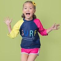 Children Baby Girl Swimwear Bathing Suit Swimsuit Two Piece Girs Bikini Kids Swimwear Long Sleeve Beachwear