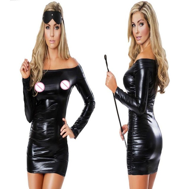 c9a1d3beb3 Women Black Wet Look Mini Dress Vinyl Leather PVC Dress Sexy Off Shoulder  Long Sleeve Bodycon Clubwear Pole Dance Party Dresses