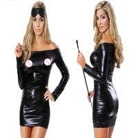 Women Black Wet Look Mini Dress Vinyl Leather PVC Dress Sexy Off Shoulder Long Sleeve Bodycon Clubwear Pole Dance Party Dresses