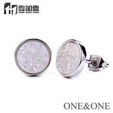 Factory Price Natural Druzy Stone Round 8mm White Stone Brass Earring Drusy Stud Earrings