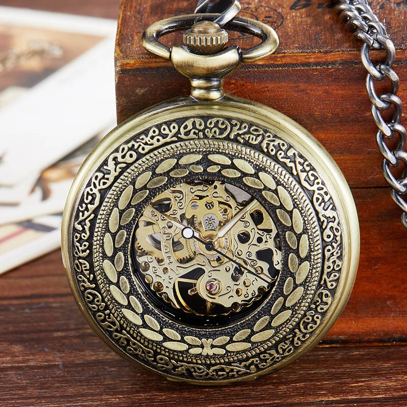 Vintage Engraved Mechanical Pocket Watch Steampunk Retro Hollow Dial Roman Numerals Fob Hand Watch With Chain For Men Women Gift