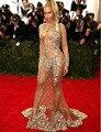 W71 Nueva Llegada Caliente Atractivo de La Sirena Vestidos de Noche Opacidad Crystal Vestido de Noche Formal de Manga Larga Beyonce Met Gala 2017