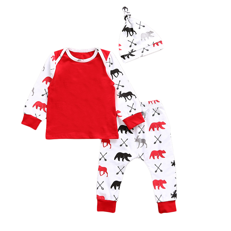 New 2017 Christmas Baby Boys Girls Clothes Suit Cute Printing T-Shirt+Pants+Hat 3Pcs/Set Newborn Toddler Babies Clothing Set