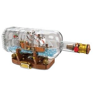 Image 2 - Lepinblocks корабль со светодиодсветильник кой Лодка в бутылке 21313 техника идеи Lepining Playmobil строительные блоки кирпичи детские игрушки для детей