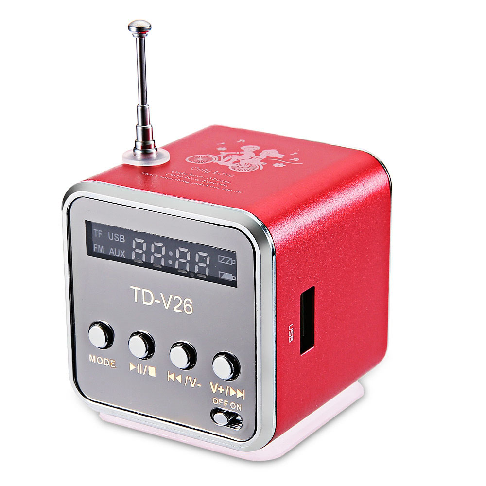 Portatile Ricevitore Radio FM Mini Altoparlante Digitale TDV26 LCD Suono Micro SD/TF di Musica Altoparlante Stereo per il Computer Portatile Mobile telefono MP3