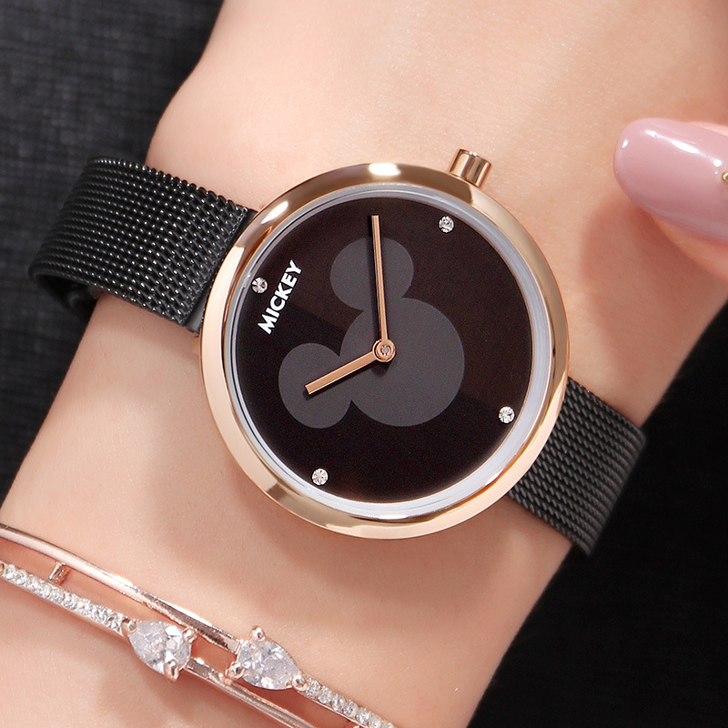 New Mickey Mouse Watch Lady Stainless Steel Leather Leisure Clock Lady Silver Black Rose Gold Waterproof Quartz Watch