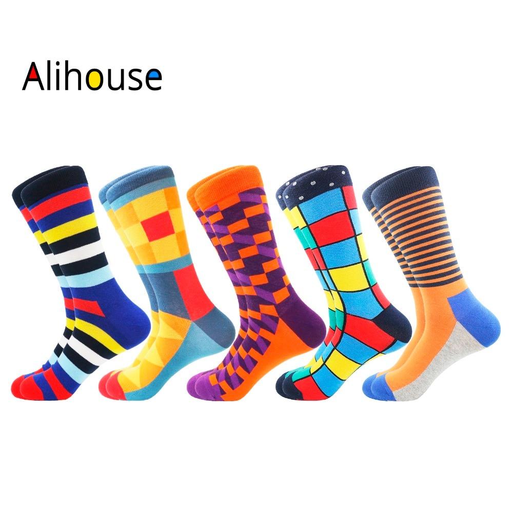 Funny Happy   Socks   Men Casual Crew Cotton Winter   Socks   5Pairs/Lot Novelty Colourful Striped Geometric Printed   Socks   Men One Size