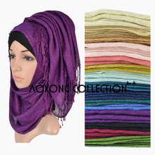 MECON HING 10pcs/lot mixed shimmer muslim hijab 2016 solid plain viscose shawl scarf
