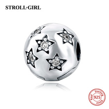 Authentic 100% 925 Sterling Silver Bead Charm Daisy Clip Safety Stopper Beads Fit Original Pandora Bracelet & Bangle Necklace lzeshine 100% real 925 sterling silver effervescence murano glass bead fit original pandora charm bracelet authentic psgb