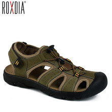 Buy ROXDIA Summer  New Fashion Breathable Causal Men Sandals Genuine Leather Beach Shoes Men Shoes Plus Size 38-45 RXM005 directly from merchant!