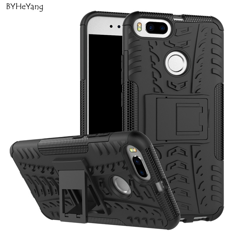 BYHeYang For Xiaomi Mi5X Mi 5X Case Mi A1 Case TPU & PC Silicone Dual Armor Cover with Stand Hard Case For xiaomi mi a1 cover