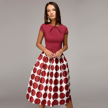Short Sleeve Elegant Fashion Party Dress 2019 Black Red Circle Print Summer Dresses Women Patchwork A-line Midi Dress Vestidos цена и фото