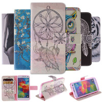 Colourful Flip Cover PU Leather Phone Bag Case For Samsung Galaxy S5 Case I9600 SV Wallet