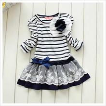 1-6Y Girls Kids Sweet Lace Dresses Long Sleeve Bowknot Flower Stripes Dress