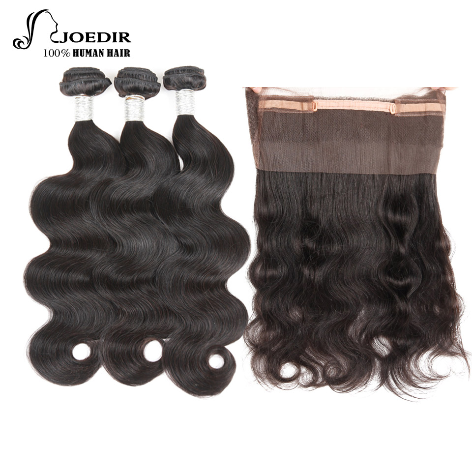 Joedir Hair 360 Lace Frontal With Bundles Indian Body Wave Human Hair Weave 3 Bundles With Frontal Closure Non Remy