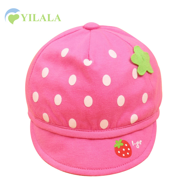 Polka Baby Girls Hat Strawberry Dots Baby Hats Summer Boys Sun Caps Cotton  Girls Hats Cute 4c47a3528df4
