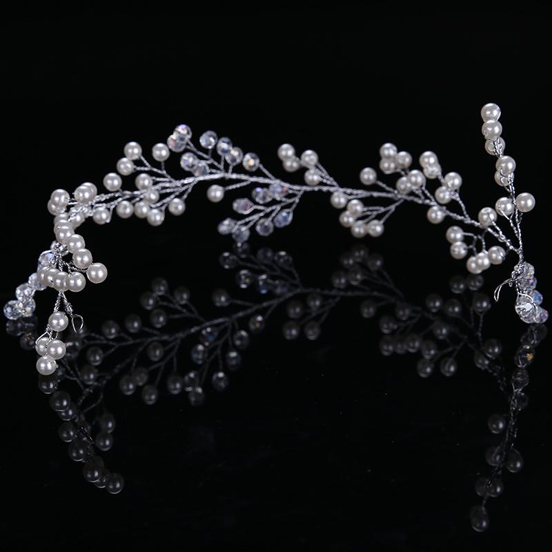 Trendy Silver Pearl Headbands Wedding tiara 32cm Crystal Headband Bridal Hair Accessories Head Jewelry Wedding Hair Accessories 2