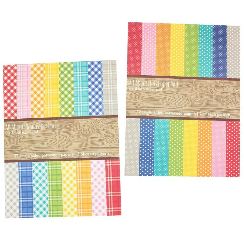 KSCRAFT 32sheets/lot Single-side Printed Creative Dots/Plaid Paper Pad Papercraft Art Paper Handmade Scrapbooking Kit Set Books