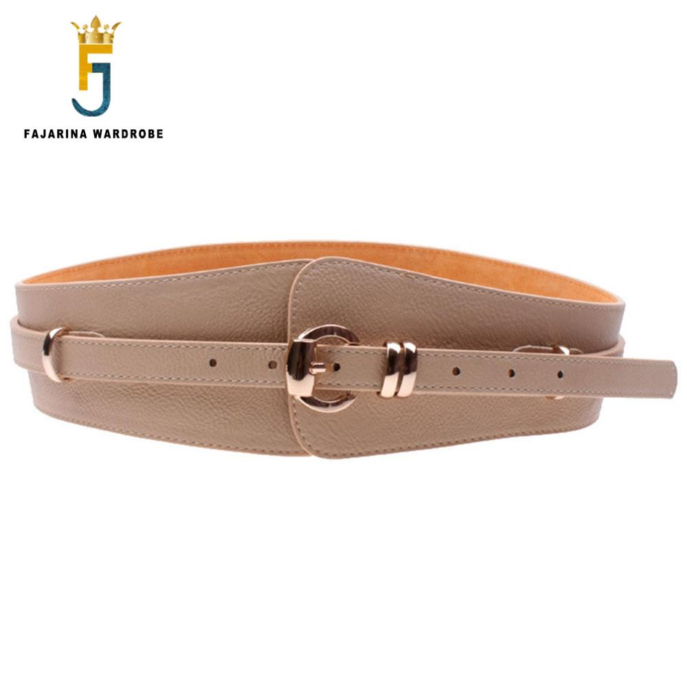 FAJARINA Fashion Embossed Pin Buckle Female Wide Belts Coat Ladies Leather Decorative Girdle For Women Waistband Belt LDFJ008
