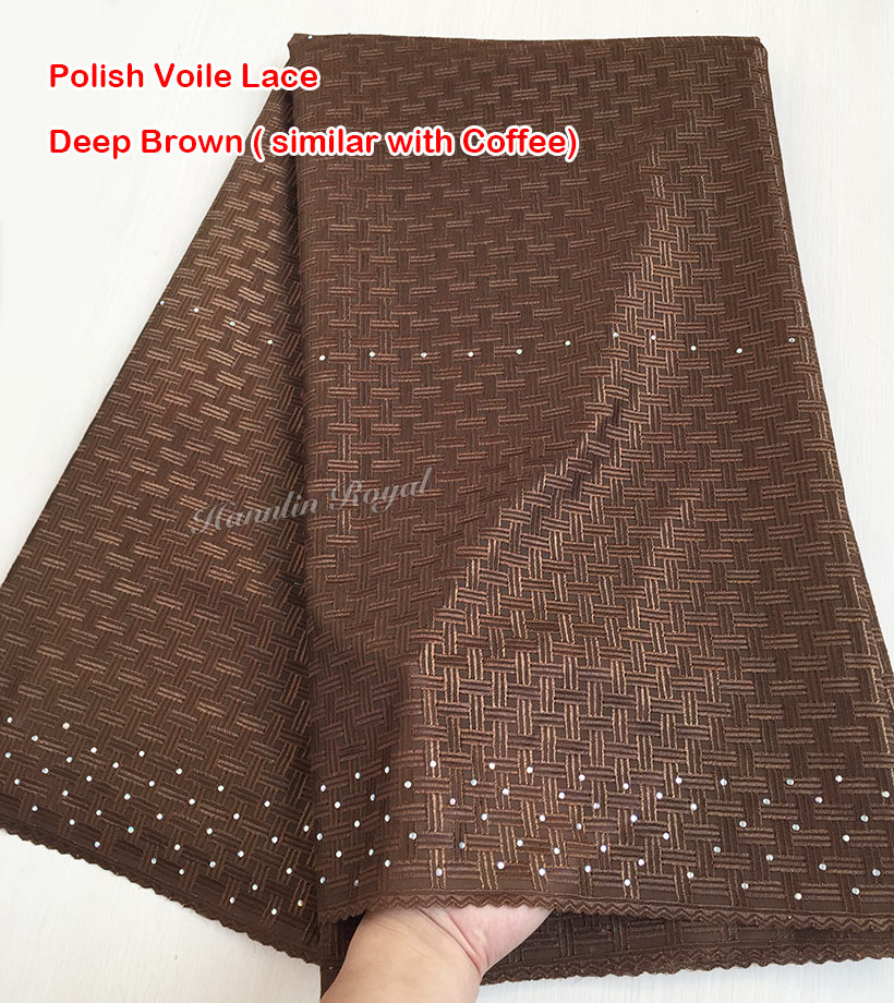 Coffee very soft Swiss voile lace African lace fabric for men and lady High Quality 7152
