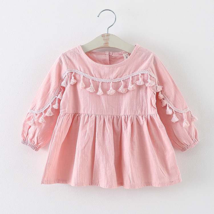 3ead0e59a new 11.11 spring autumn tassel baby dresses girl clothes casual toddler  girls party dress suit 2~7 age newborn dress for girls