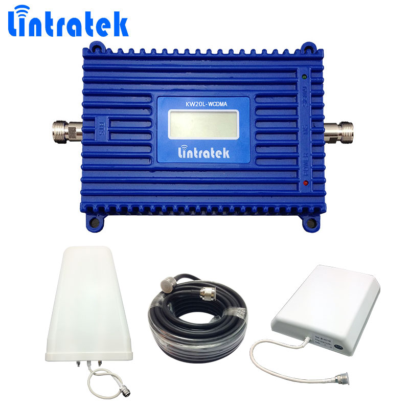 Lintratek W-CDMA 2100mhz Signal Booster 70db 3G Mobile Phone Signal Repeater UMTS 2100 LCD Display 3G Booster with 3G Antenna