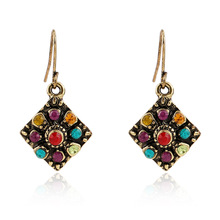 Vintage Bohemian Earrings Hollow Sculpture Droplets Gem Beads Eardrop Wholesale Ethnic Jewelry For Women