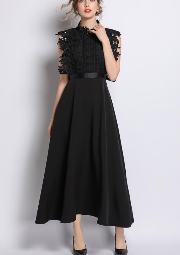 High Quality 2019 Spring  Hot Sale Elegant Party Queen Stand Collar Solid Color Lace Hollow-out   Woman Long Dress Black
