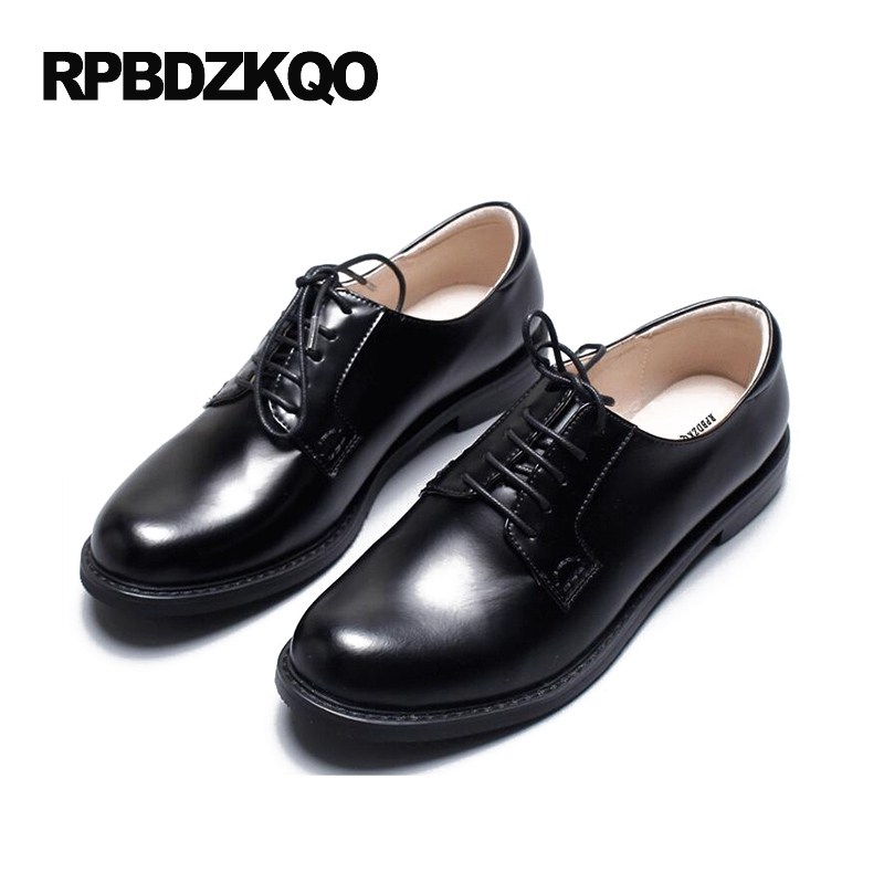 Round Toe Luxury Brand Shoes Women 2017 Genuine Leather Patent Flats British Style European Black Plain Spring Autumn Oxfords beffery 2018 spring patent leather shoes women flats round toe casual shoes vintage british style flats platform shoes for women