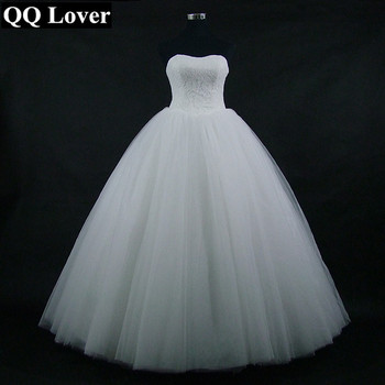 QQ Lover 2019 New Simple Lace Ball Gown Wedding Dress Custom-made Bridal Gown Vestido De Noiva