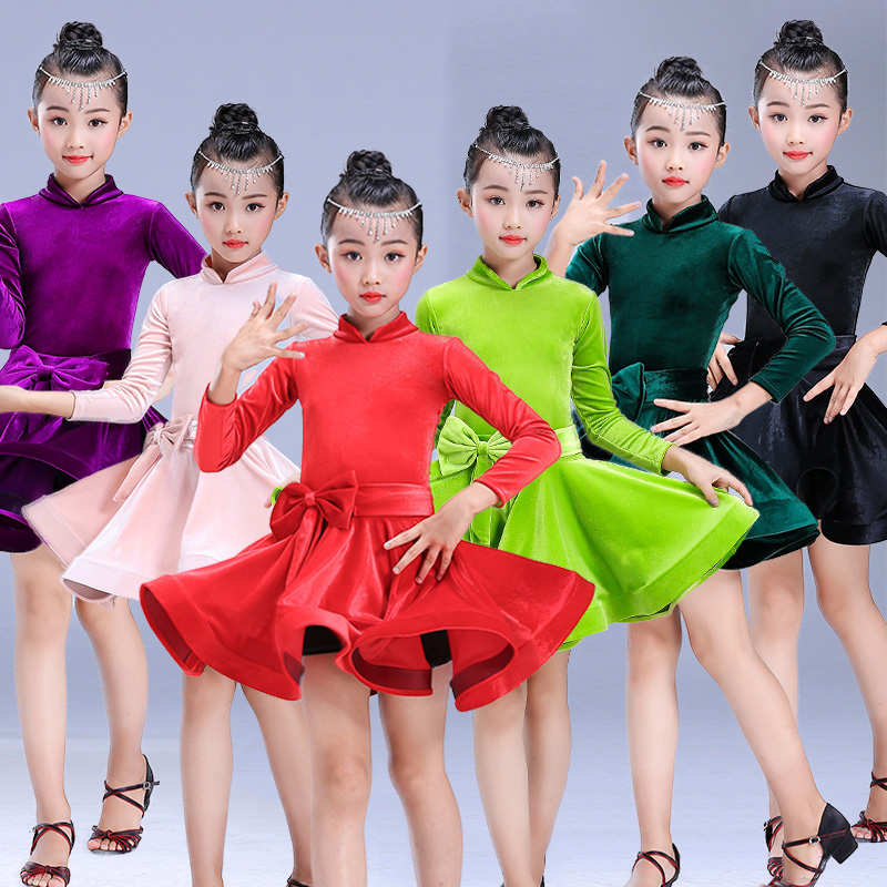Latin Dance Dress Girls Velvet Long Sleeve Children Rumba Cha Cha Dancing Competition Performance Dancewear Latin Clothes DN2699