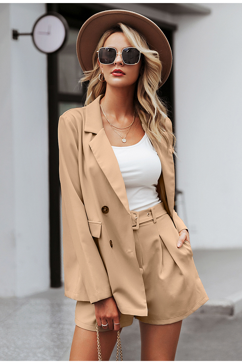 Simplee Elegant two-pieces women short suit Casual streetwear suits female blazer sets Chic 19 office ladies women blazer suit 4