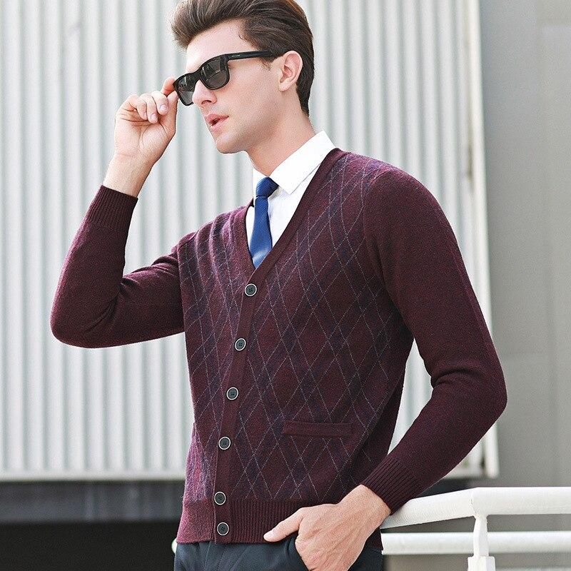 100% Wolle Neue Ankunft Gestrickte Pullover Strickjacke Mode Winter Casual V-ausschnitt Hohe Qualität Mens Dicken Einreiher Größe Smlxlxxl