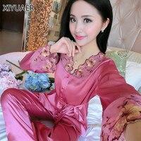 Sleep Shirt Women Imitation Silk Slip Chemise Female Nightshirt Nightwear Gown Nightie Long Nightgowns Dress for Home 50065