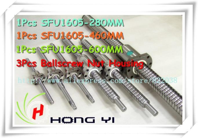 SFU1605 ball screw  L=280mm/460mm/600mm+3pcs ball nut + 3Pcs RM1605  Nut Housing  for cnc and BK/BF12 standard processing