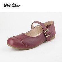 Women 2017 Genuine Leather Flat Shoes Vintage Black/Brown Nude Designer Oxford Shoes Flatfeet buckle Flats Mori Girl Design