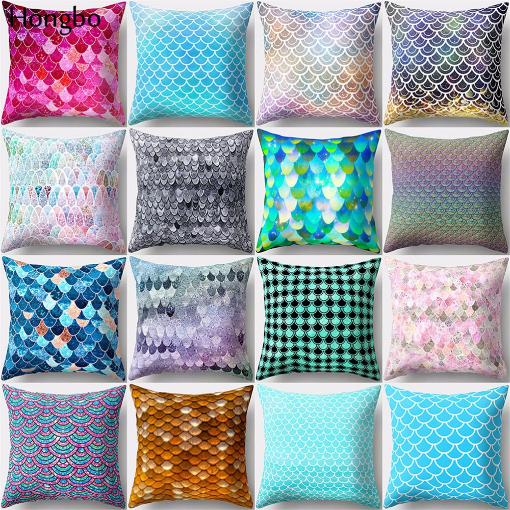 Fashion Shell Fish Scales Throw Pillow Case Home Decor Soft Cushion Cover Mystic